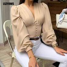 Women Blouses Sexy V-Neck Long Lantern Sleeve Female Autumn