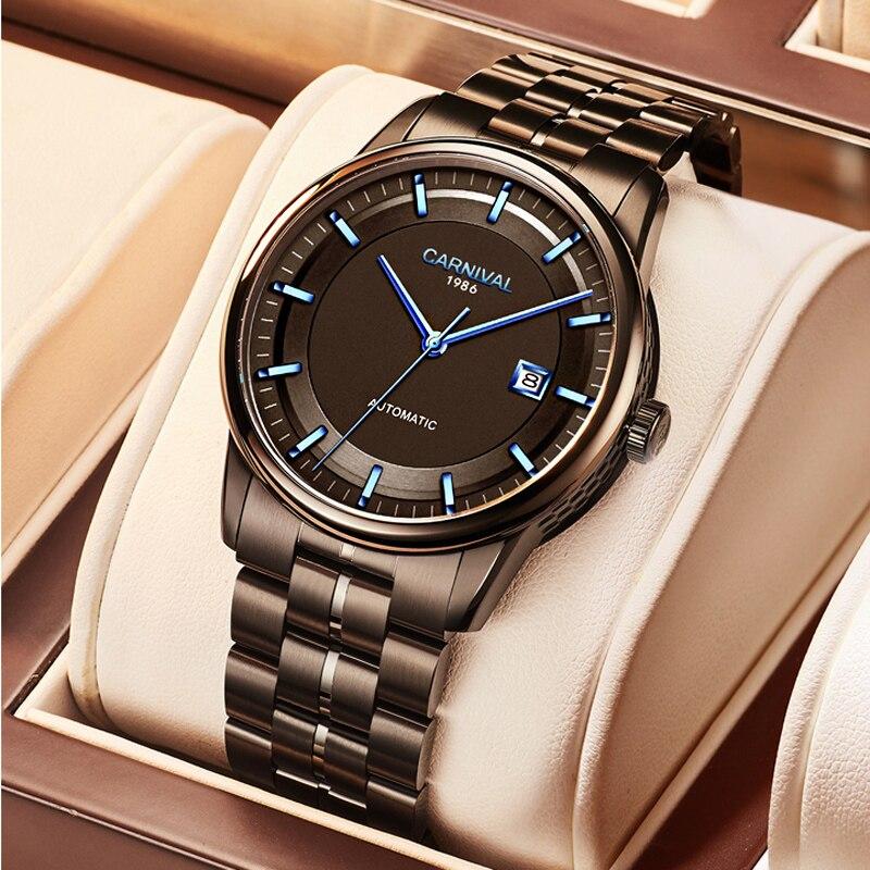 CARNIVAL Mens Watches Top Brand Men Watch MIYOTA Movement Luxury Waterproof Sport Male Steel Automatic Mechanical Man Clock