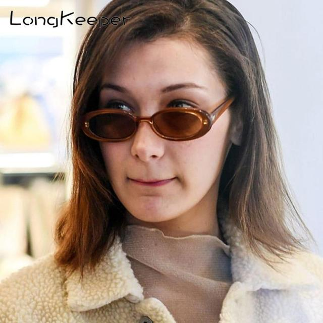 LongKeeper 2020 Small Oval Sunglasses Women Men Retro Vintage  Sun Glasses Ladies Black White Pink Clear Shades for Female 90s