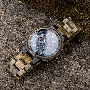 Image 2 - BOBO BIRD Men Wood Quartz Wristwatch Retro Green Sandalwood Timepiece Multifunctional Chronograph Accept Customized reloj hombre