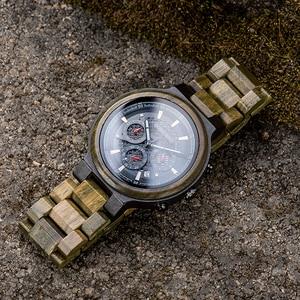 Image 2 - Bobo Vogel Mannen Hout Quartz Horloge Retro Groene Sandelhout Uurwerk Multifunctionele Chronograaf Accepteren Aangepaste Reloj Hombre