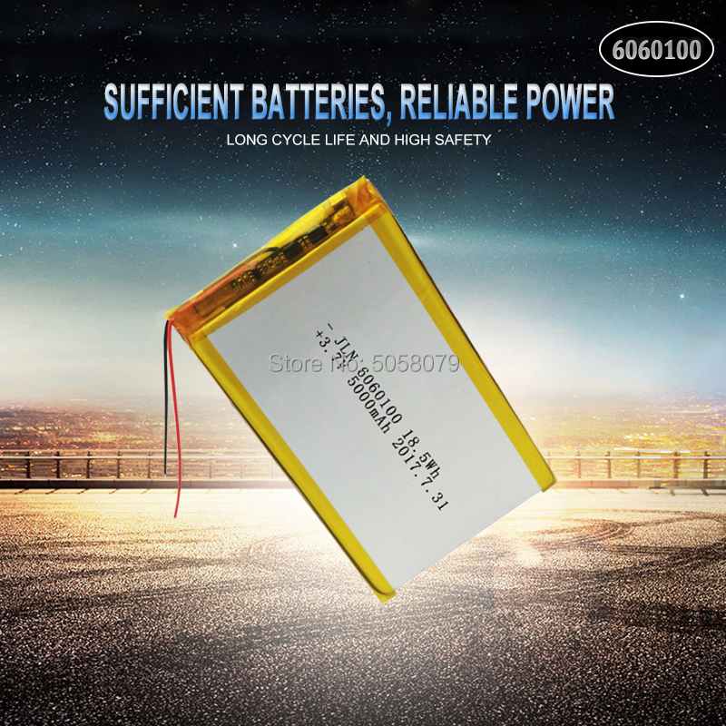 1pcs Li Po Li-ion <font><b>Batteries</b></font> Lithium Polymer <font><b>Battery</b></font> <font><b>3</b></font> <font><b>7</b></font> <font><b>V</b></font> Lipo Li Ion Rechargeable Lithium-ion 6060100 5000mAh Bateria Replace image