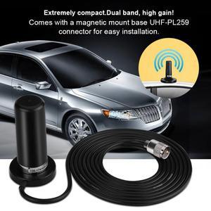 Image 1 - VHF/UHF להקה כפולה אנטנת רכב נייד רדיו אנטנה עם מגנטי הר בסיס 5M כבל עבור רכב רכב נייד רדיו Accessorie