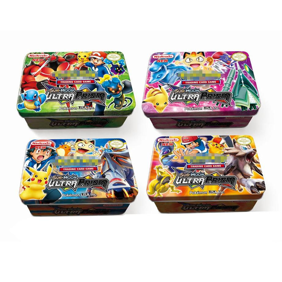 Anime 42pcs set  Cards Pokemon Iron Metal Box TAKARA TOMY Toys Battle Game Snorlax Gengar Eevee Cartoon Kids Christmas Gifts