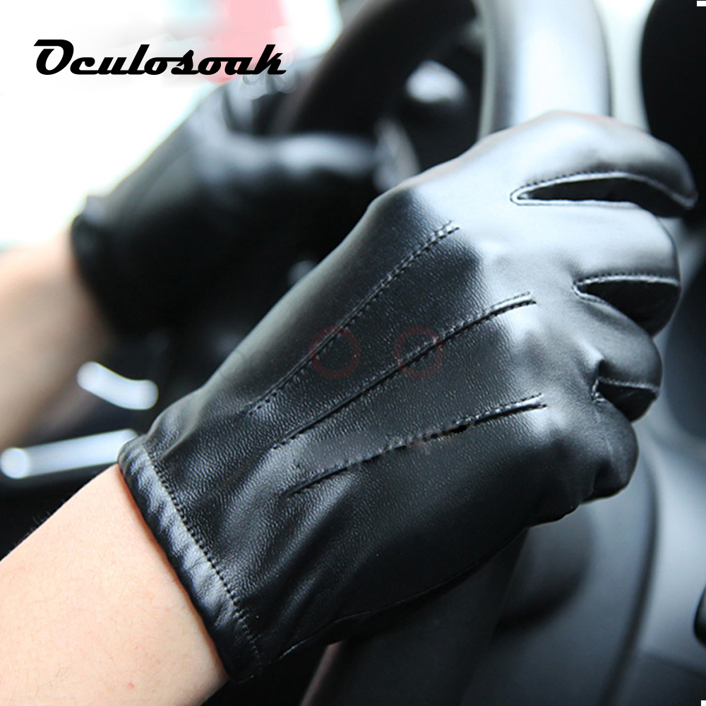 2019 Hot Men's Luxurious PU Leather Winter Driving Warm Gloves Cashmere Tactical Gloves Black Drop Shipping High Quality