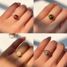 Momiji anel de pedra natural para as mulheres do vintage artesanal boêmio jóias presente cristal moonstone casamento festa anel ajustável