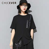 CHICEVER Patchwork Pocket T-shirt For Women O Neck Short Sleeve Plus Size Loose Casual Shirts 2020 Summer Fashion New Clothes