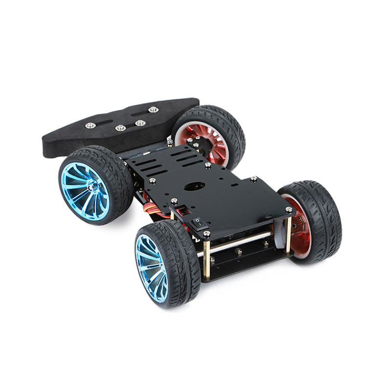 4WD Robot Smart Car Steering Wheel Chassis Car For Arduino Platform Servo Car With Steering Gear Control DIY Kit For Kids Gift
