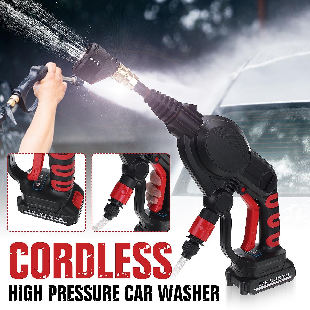 Nettoyeur de lave-auto à haute pression tenu dans la main sans fil sans fil de 20V 2.6MPa pour le lavage de nettoyage de voiture pour le filtre de tuyau de la pointe 6m de buses de pistolet