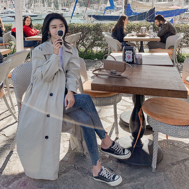 2019Autumn winter models   trench   coat oversize long   trench   and korean style coat for women England Chic windbreaker apricot blue