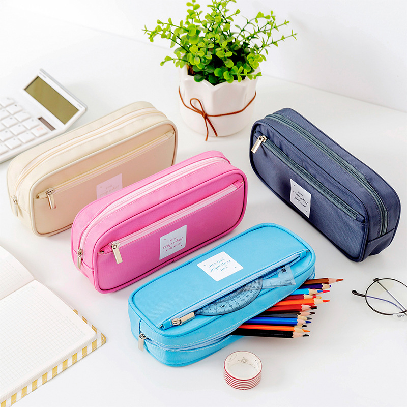 New Simple Pencil Case Double Layer Large Capacity Pencilcase Kids School Supplies Pen Box Student Pouch Stationery Gift