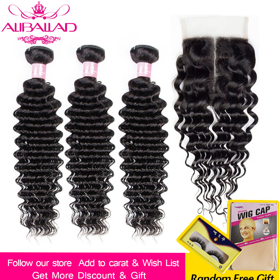 Aliballad Deep Wave Bundles With 5x5 Closure Natural Color Brazillian Hair Bundles With Closure Non-Remy Hair Extensions
