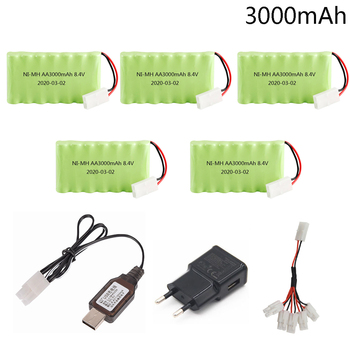 8.4V 3000mah Ni-MH Battery Pack with USB Charger 5in1 cable For Rc toy Cars Boat Gun Tank Train Robot 8.4v high capacity Battery image