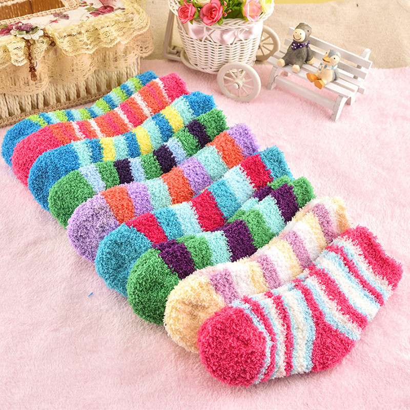 5pairs/lot Winter To Keep Warm Coral Fleece Fashion Able Sweet Candy Colors Baby Socks Boy /girls Socks