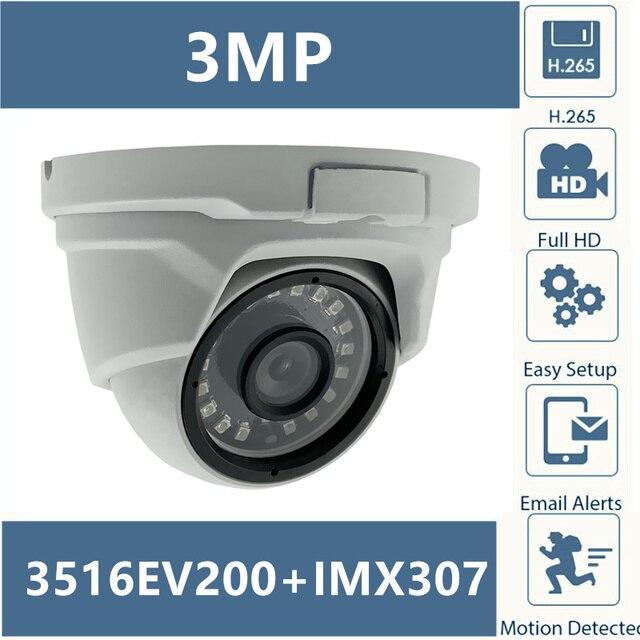 Купольная камера Sony IMX307 + 3516EV200, IP, металлическая, H.265, низкое освещение, 3 Мп, 2304*1296, 18 светодиодов, инфракрасный, IRC, CMS, XMEYE, ONVIF, P2P Cloud