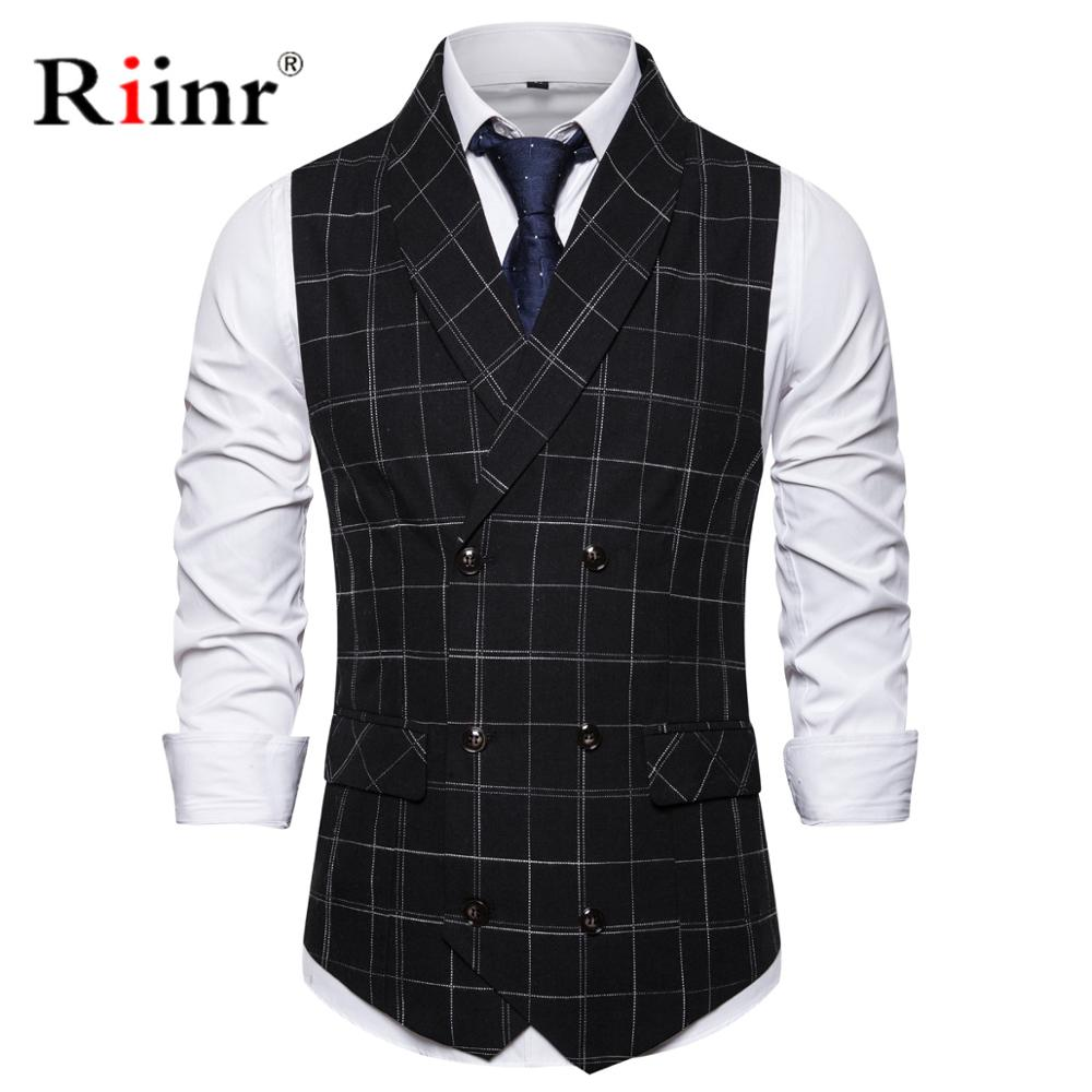 Brand Men's Wedding Formal Suit Vest 2019 Fashion New Double Breasted Slim Fit Sleeveless Waistcoat Men Gilet Homme Costume 3XL