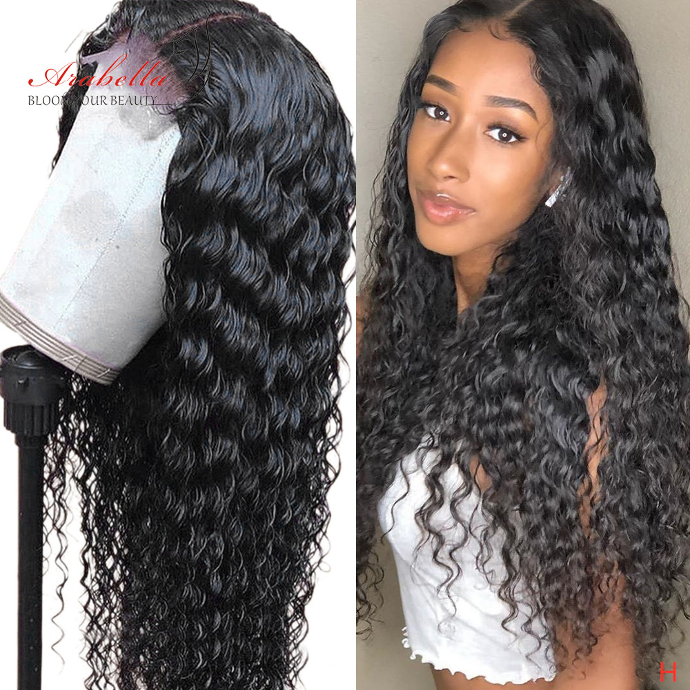 Arabella Closure-Wig Human-Hair Water-Wave 180-Density Brazilian Preplucked with