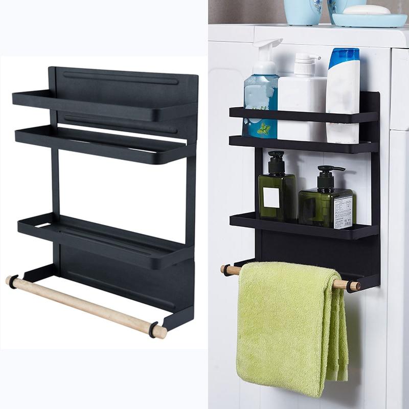 2 Tier Metal Kitchen Rack Magnetic Fridge Organizer Spice Rack Paper Towel Roll Holder Refrigerator Storage Shelf Door Hang Rack