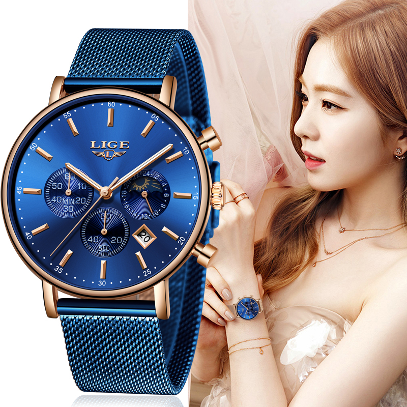 LIGE Women Fashion Blue Quartz Watch Lady Mesh Watchband High Quality Casual Waterproof Wristwatch Moon Phase Clock Women Watch