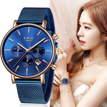 LIGE Women Fashion Blue Quartz Watch Lady Mesh Watchband High Quality Casual Waterproof Wristwatch Moon Phase Clock - discount item  90% OFF Women's Watches
