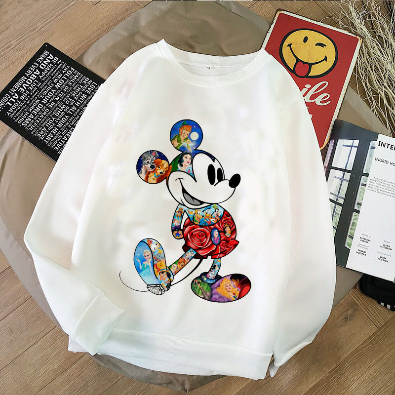 Harajuku Cartoon Mickey Print Joker Casual Turtleneck Sweater Couple Hawaiian Women Casual Long Sleeve O-Neck Polyester Hoodie