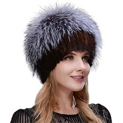 Middle aged women in the winter: mink fur women's knitted sweater hat new fashion European and American cat style ski caps 9