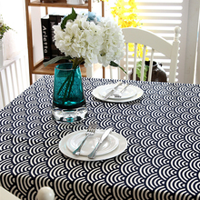 Japanese-style Linen Cotton Tablecloth Lace Geometry Rhombus wave-table Cloth Wedding Banquet Washable Table Cover Textiles
