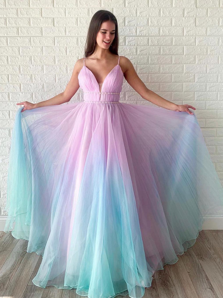 VKbridal Textured Ombre 2020 Prom   Dresses   Organza Long   Evening     Dresses   with ruched bodice Ball Gown Pageant Party Gowns