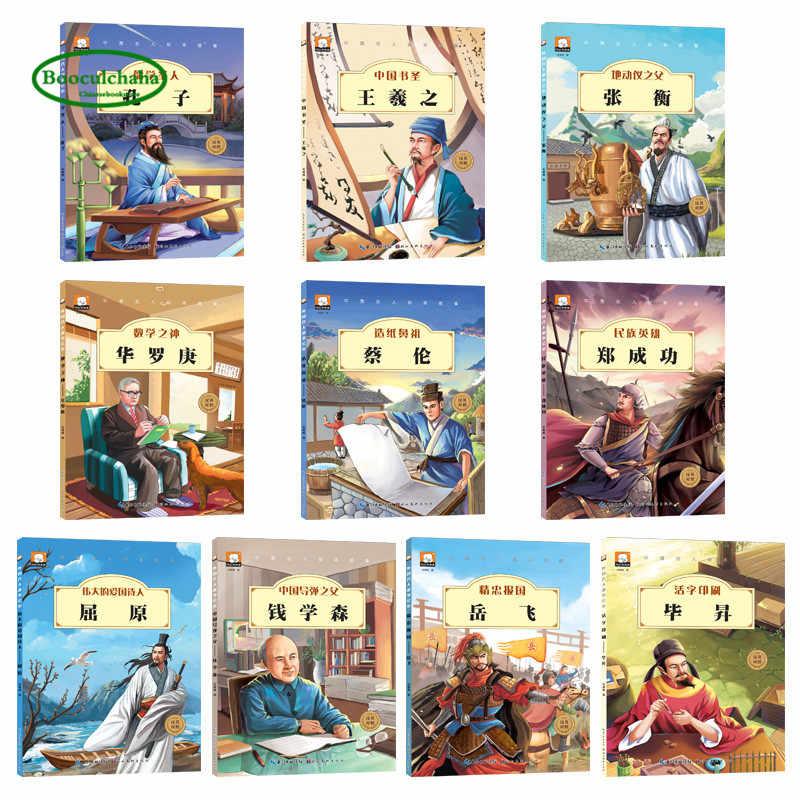 Engels boek Kinderen tieners Chinese celebrity verhaal foto boek Pinyin Kong Zi Hua Luogeng Zhang Heng Qu Yuan Yue Fei
