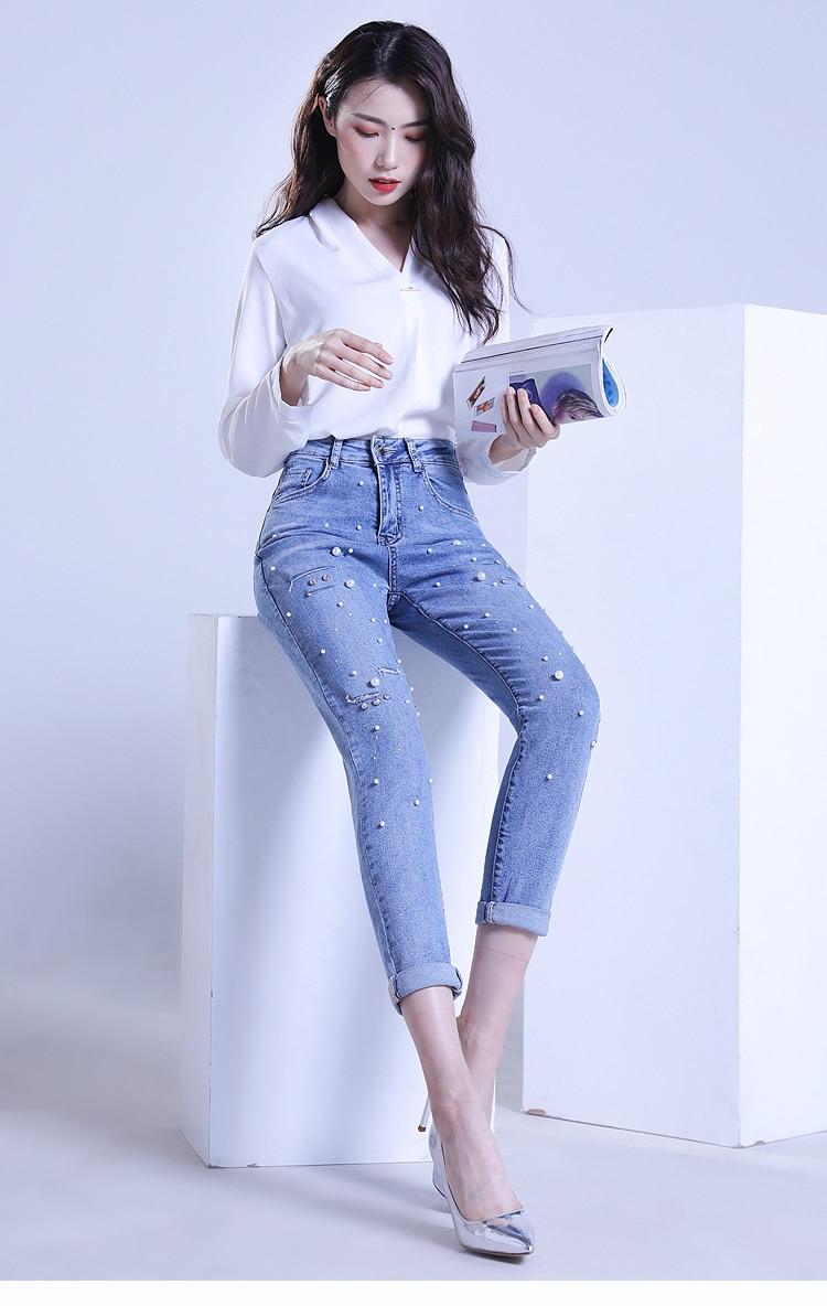 KSTUN FERZIGE ripped jeans for women slim fit light high waist blue thin hand beads elastic distressed cropped pants denim trousers 14
