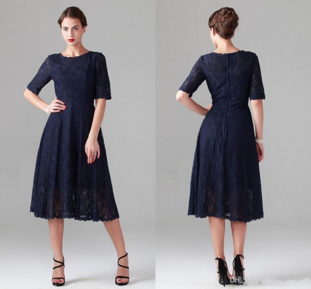 A Line Navy Blue Lace Mother Of The Bride Dresses Vintage Half Sleeve Tea-length Dress For Beach Wedding 2015 Party Evening Gown