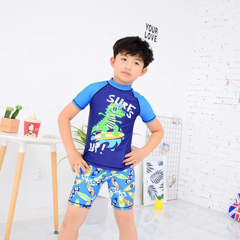 New Style KID'S Swimwear Boy Big Boy Teenager Split Type BOY'S Swimming Trunks Set Short Sleeve Hot Springs Sun-resistant Swimwe