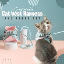 1.5m Cat Vest Harness and Leash Set Adjustable Belt Reflective Effect For Travel Walking Running Hiking Cat Vest Leash