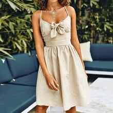 Элегантное платье cupshe абрикосового цвета с принтом в полоску