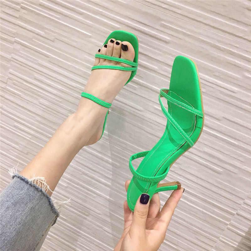 2020 Quần Áo Thun Vuông Mũi Giày Sandal Nữ Da PU Nữ Giữa Giày Cao Gót Dép Nữ Thời Trang Phụ Nữ Giày