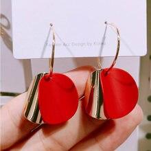 Nova moda redonda brincos de gota para as mulheres de metal vermelho rosa cor dupla bolacha brinco jóias de casamento brincos atacado