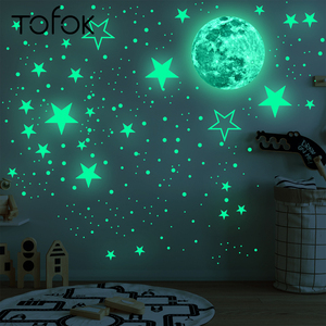 Tofok 30cm Moon 435pcs Stars Dots Green Luminous Wall Sticker Children Room Ceiling Stairs Decoration Fluorescent Mural Decals