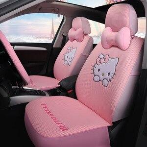 5 Подушка для сиденья в автомобиль всесезонные универсальные Мультяшные милые чехлы для сидений KT Cat Зимние плюшевые чехлы для стульев укра...