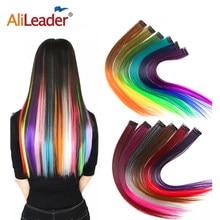 Alileader – Extension de cheveux à Clip, postiche lisse, ombré, 57 couleurs, haute température, Faber