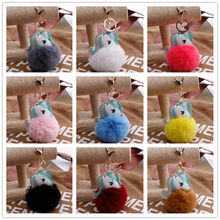 Plush Animal Kawaii Unicorn Fluffy Fur Girl Toy Keyring Bag Pendant Toys For Children Stuffed Animals Decoration Birthday Gifts(China)