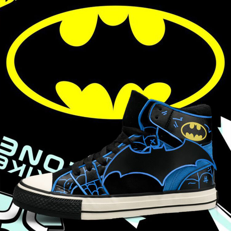 COOLVFATBO Batman Shoes Casual Vulcanize Shoes For Men Lace-Up Canvas Flat Shoes High Top Spring Autumm Boys Students Sneakers