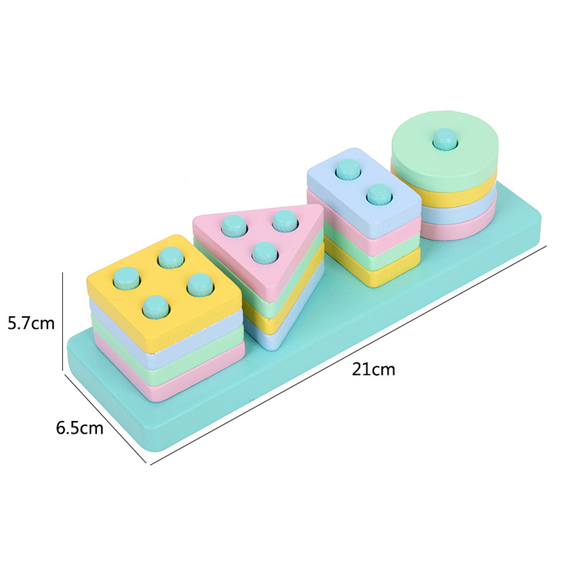 Children's Wooden Shape Matched With Makaron Color Pillar Building Kindergarten Puzzle Early Education Toys New Year Gift