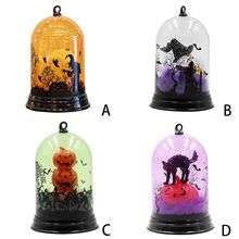 2019 Unique Small Night Light Halloween Pumpkin Witch Cat Pattern Discoloration