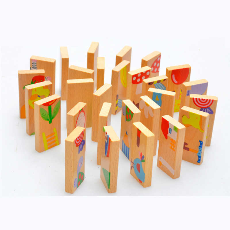 15/28 Stuks Houten Domino Fruit Dier Erkenning Hoop Toren Puzzel Speelgoed Spel Montessori Kinderen Leren Educatief Puzzel Baby speelgoed