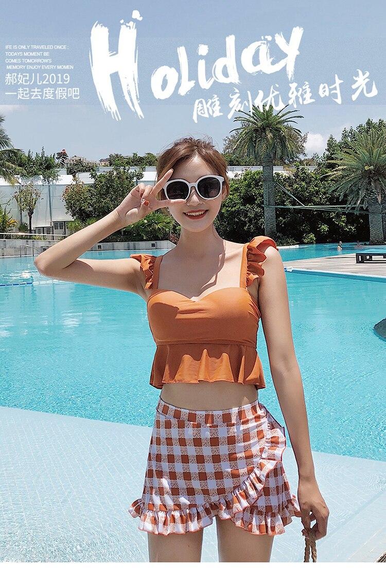 Roupa de banho feminina coreana, duas peças,