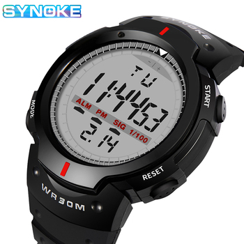 SYNOKE Men Digital Watch LED Display Life Waterproof Male Wristwatches Alarm Montre Homme Sport Clock Relojes Hombre 2020 weide watch men sport water resist black leather strap led display auto date quartz wristwatches masculino clock relojes hombre