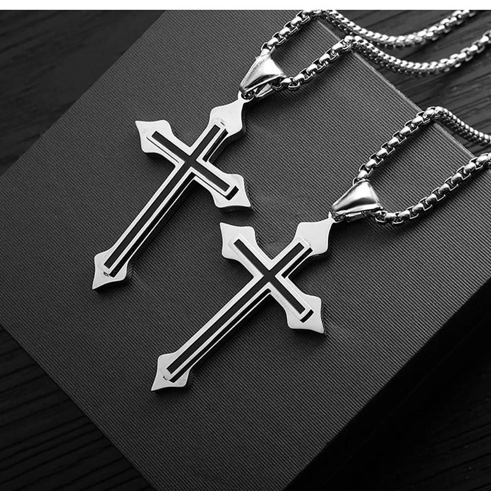 Fashion Cross Necklace For Men Punk Stainless Steel Chain  Pendant Male Acero  Inoxidable Joyeria Friends Retro Colar Jewelry