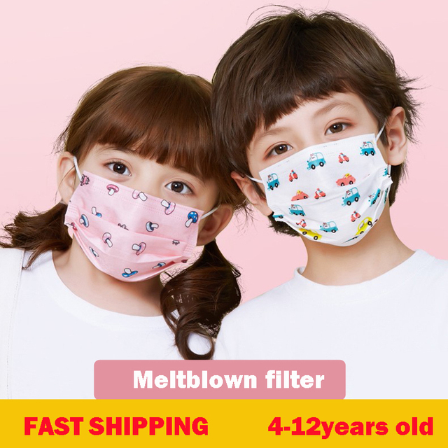 10/50 Pcs Childern Kids Disposable Mouth Face Mask Cartoon Dustproof Non-Woven 3-ply Protective Flu Mask Anti-fog Dust Kawaii 1