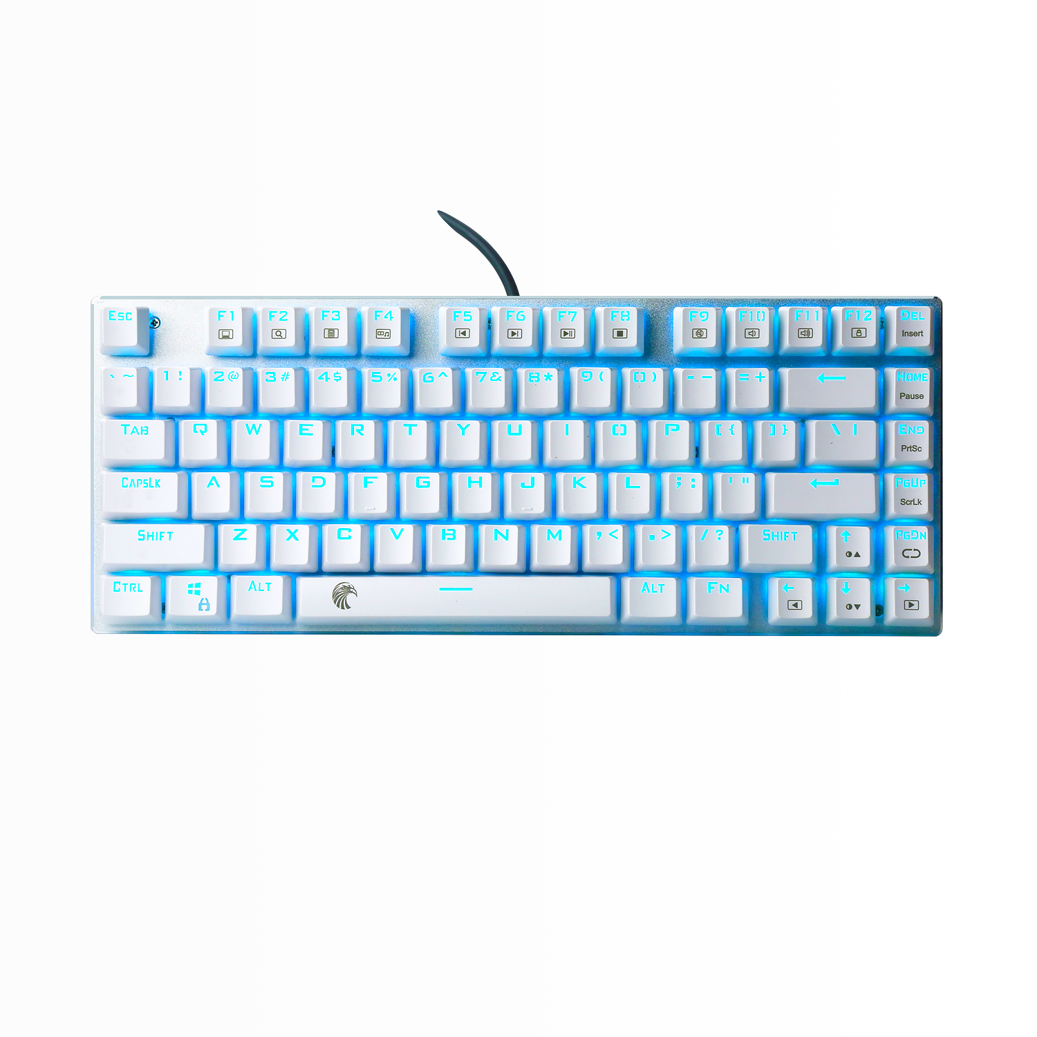 TKL Mechanical Keyboard Blue Led Backlit Clicky Switches Compact 81 Keys Small Gaming Keyboard For PC Computer , White