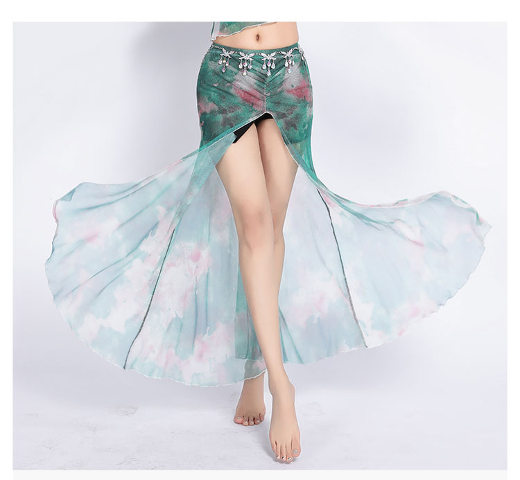 Tie-dyed Floral 2020 Women Class Wear Off-shoulder Top and Skirt Side Slit Belly Dance Costume Set for Girls